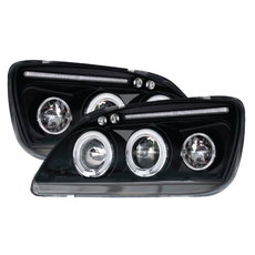 Ford Fiesta Mk5 99-01 Ultra Black Halo Projector Headlights